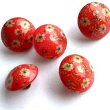 "Red Vintage Glass, Tiny Flowers 1/2"" #GL315"