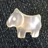 Tiny White Vintage Pearly Dog Button 1/2""