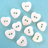 "White Pearl Shell Heart 1/2"" Buttons, Pack of 6.  #651"