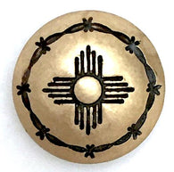 "Southwest Zia Sun Symbol, Brass with Barbed Wire 5/8""   # SW-44"