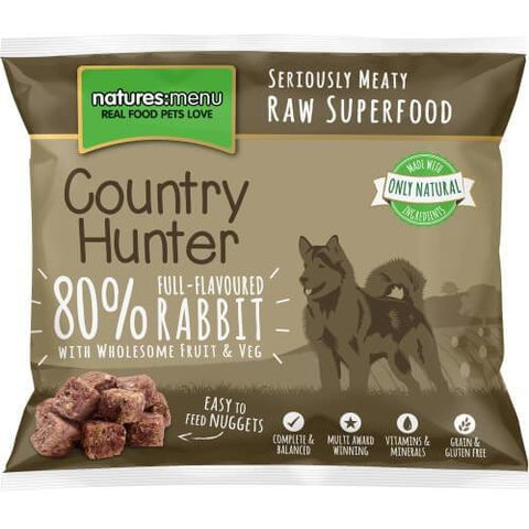 Country Hunter Raw Rabbit Nuggets 1kg, Raw Dog Food, Natures Menu, Pet Parlour Terenure - The Pet Parlour Terenure Dublin