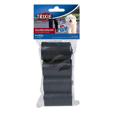Trixie-Black Poo bags 4 Rolls x 20 Bags