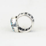 Sterling Silver Wide Band Bisbee Turquoise Ring