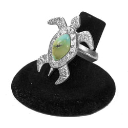 Turtle Tufa Cast with Turquoise Ring by Darryl Begay (Size 6)