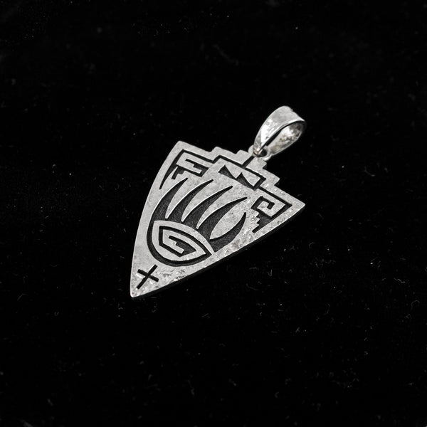 Sterling Silver Badgerpaw Shield Pendant by Ruben Saufkie
