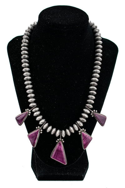 Sterling Silver Beads & Spondylus Necklace by Selena Warner
