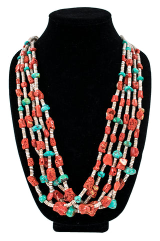 Five-Strand Coral, Fox Turquoise & Heishi Necklace by Nestoria Coriz