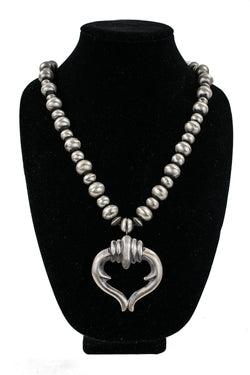 Sterling Silver Bead Necklace with Sandcast Naja by Wilson Begay