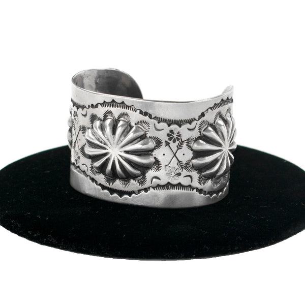 Sterling Silver Repousse' Cuff by Clarissa & Vernon Hale
