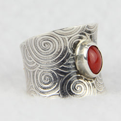 Sterling Silver Saddle Shape Coral Ring by Al Joe