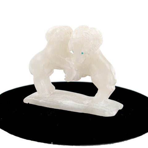 Alabaster Rams Fetish Carving