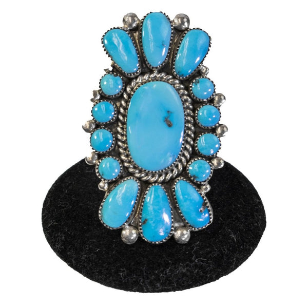 Turquoise Cluster Ring by Lorraine Waatsa (size 7.25)