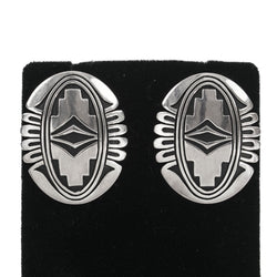 Sterling Silver Applique Earrings by Steven J. Begay