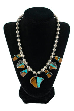 Stone & Sterling Silver Inlay Necklace by Jeanette Dale & Jimmy Poyer