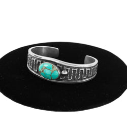 Turquoise & Sterling Silver Sandcast Cuff by Wilson Begay