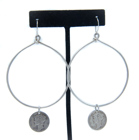 Large Hoop Earrings with Coins by Jerilynn Yazzie