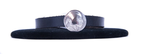 Coin Leather Bracelet by Jerilynn Yazzie