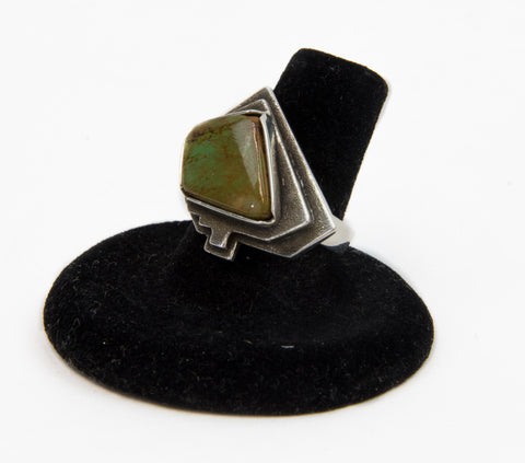Carved Wind Mesa Royston Turquoise Ring by Jerry Begay