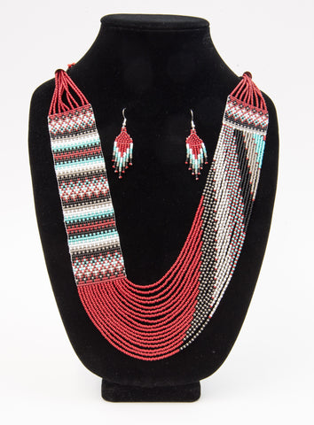Wide Woven Seed Bead Necklace and Earring Set by Rena Charles