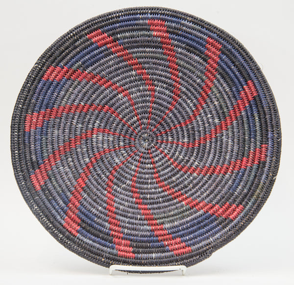Sumac Coil Black and Red Whirl Basket by Johnathan Black
