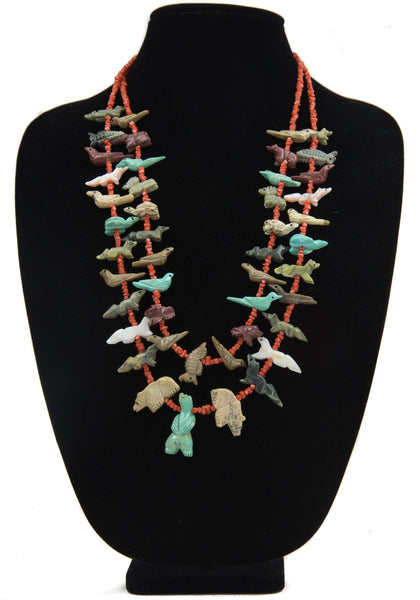 Zuni Coral Two Strand Fetish Necklace