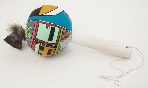Painted Gourd Rattle by Daryl Tewawina