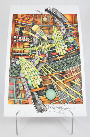 """Intermingling Space Parrots"" Signed Print by David Dawangyumptewa"