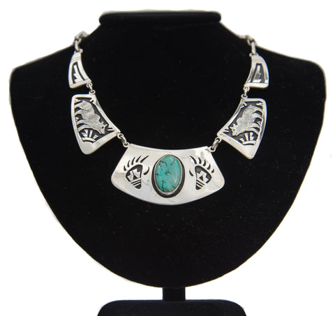 Turquoise Mountain Turquoise and Sterling Silver Necklace by Victor Coochwytewa