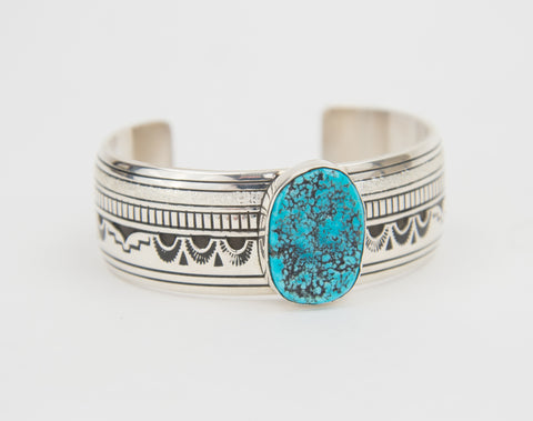 Medium Sterling Silver Stamped Morenci Turquoise Bracelet by Charlie John