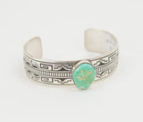 Large Sterling Silver Stamped Turquoise Bracelet by Charlie John