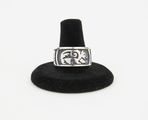 Sterling Silver Overlay Bear Ring by Ruben Saufkie