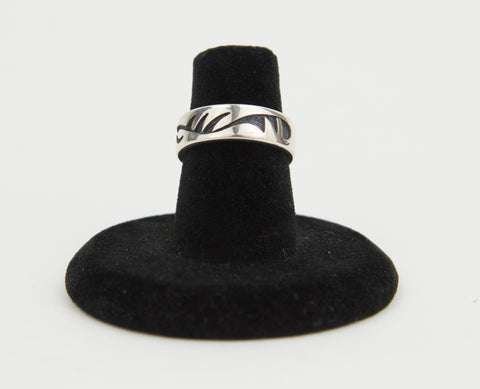 Sterling Silver Overlay Pinky Ring by Ruben Saufkie