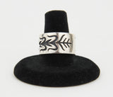 Sterling Silver Overlay Cornstalk Ring by Ruben Saufkie