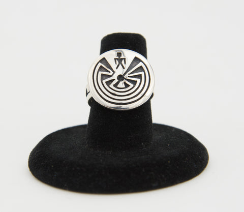 Sterling Silver Overlay Man in a Maze Ring by Ruben Saufkie