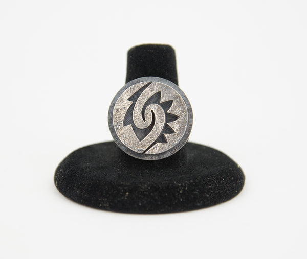 Sterling Silver Overlay Tufa Friendship Ring by Ruben Saufkie