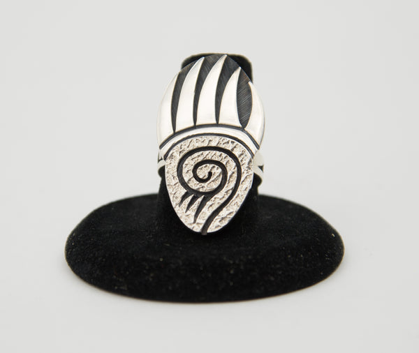 Sterling Silver Overlay Bear Paw Ring by Ruben Saufkie