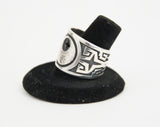 Sterling Silver Overlay Wolf/Moon Ring by Ruben Saufkie