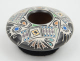Black Polychrome Bowl by Oscar Quezada