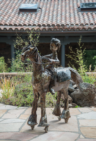 Large Horse and Rider Iron Sculpture by Joe Lester