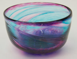 Medium Purple and Blue Glass Bowl by George Averbeck