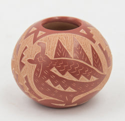 Bird & Butterfly Red Sgraffito Bowl by Candelaria Suazo