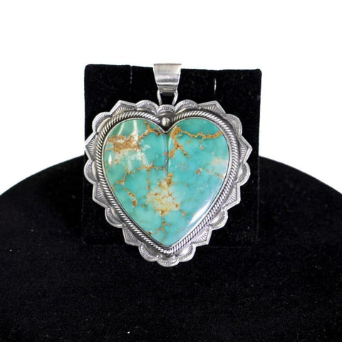 Kingman Turquoise Heart Pendant by Curtis Pete