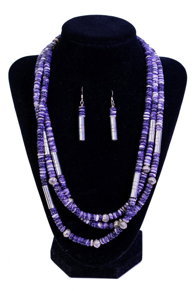 Wampum Clam Necklace & Earring Set by Nestoria Cruz