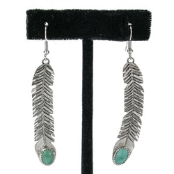 Cut Feather Kingsman Turquoise Earrings by Tawney Willie
