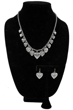 Sterling Silver Hearts on Links Necklace & Earring Set by Lester Jackson
