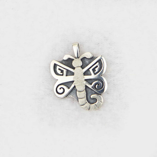 Sterling Silver Overlay Textured Dragonfly Pendant