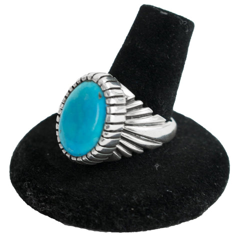 Sunburst Blue Gem Turquoise Ring by Bryan Joe (Size 10)