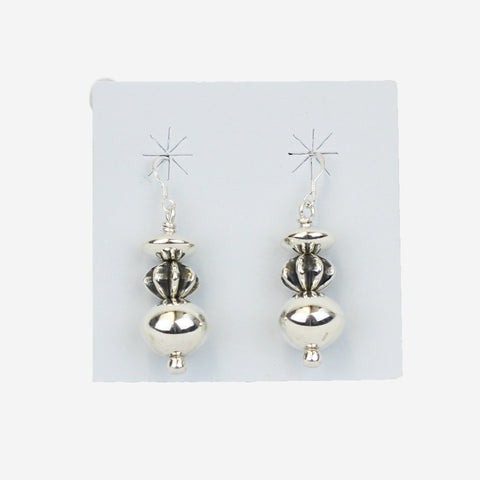 Sterling Silver Fluted Bead & Saucer Earrings by Al Joe