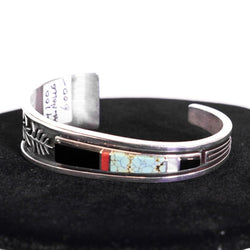 Inlay Corn Applique Turquoise, Coral, Jet, & Mother-of-Pearl Bracelet by Albert Nells