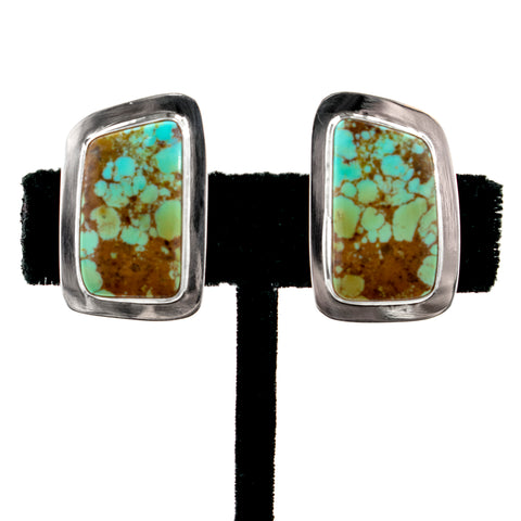 #8 Turquoise Clip Earrings by Everett & Mary Teller